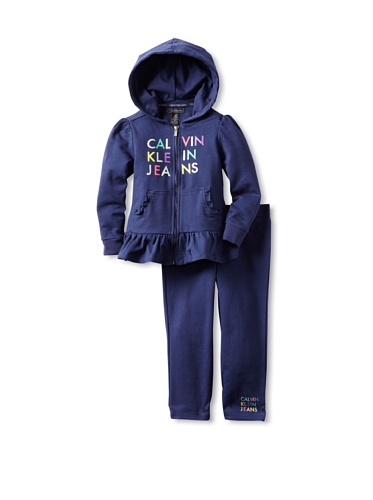 41AhiWvFQML Calvin Klein Baby Girls Infant Hooded Pant Set, Blue, 12 Months