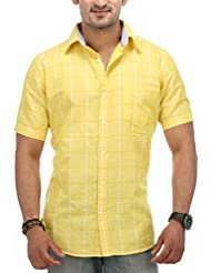 SPEAK Men's Yellow Checkered Linen Cotton Half Sleeves Casual Shirt