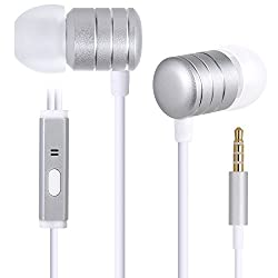 Upear Premium Earphones/Earbuds/Headphones with In-line Mic Mic for iPhone, iPad, iPod, Samsung, Nokia Smartphones, Tablets, MP3/MP4 Players and More(Silver)