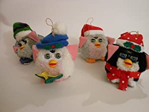 Furby Christmas Tree Hanging Ornaments Set of 4 with Moving Eyes & Hats