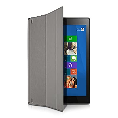 kwmobile 3in1 Set: Smart Cover Case für Lenovo Yoga Tablet 2 10 1050 mit Ständer - Schmale Ultra Slim Hülle aus Kunstleder in Grau + Folie, kristallklar + Stylus, Schwarz