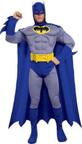 DC Heroes and Villains Collection Deluxe Muscle Chest Batman Costume - S, M, L