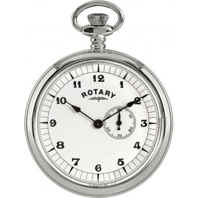 Rotary Gents Silver Tone Pocket Watch White Dial Gold MP00730-18