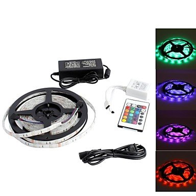 Jje Waterproof 5M 150X5050 Smd Rgb Light Led Strip Lamp With 24-Button Remote Controller Set (12V)