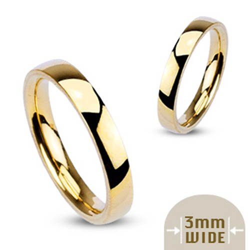 316L Stainless Steel Gold IP 3mm Wide Glossy Mirror Polished Stackable Traditional Wedding Band Ring - Size 7