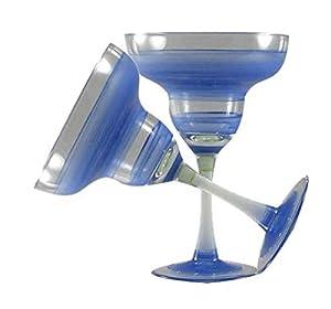 Golden Hill Studio Retro Stripe Margarita Glass (Set of 2), Blue