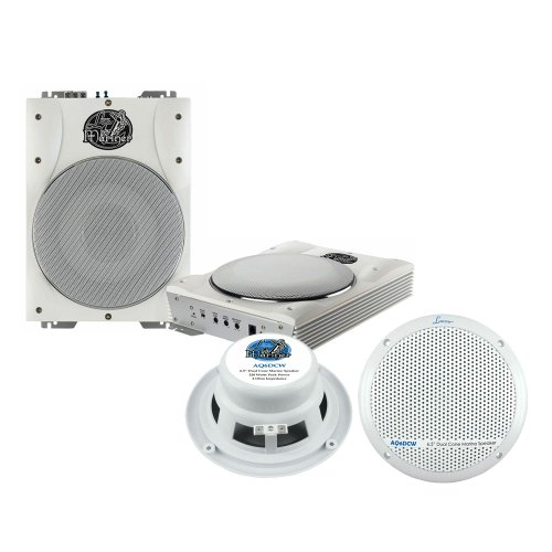 Lanzar Marine Amp Woofer and Speaker Package - AQTB8 8'' 1000 Watts Low-Profile Super Slim Active Amplified Marine/Waterproof Subwoofer System - AQ6DCW 360 Watts 6.5'' Dual Cone Marine Speakers (White Color)