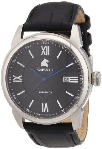 Carucci Watches CA2189BK - Reloj analógico automático para hombre, correa de cuero color negro