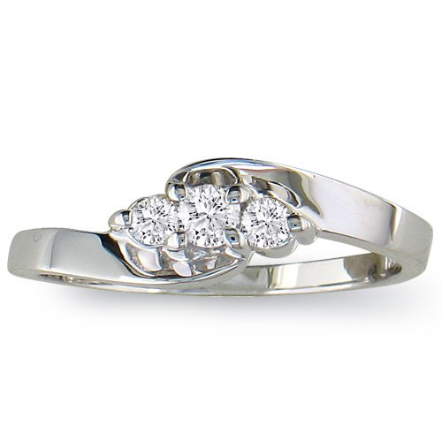 1/10ct Three-Stone Diamond Promise Ring in Sterling Silver (sizes 4 - 9)