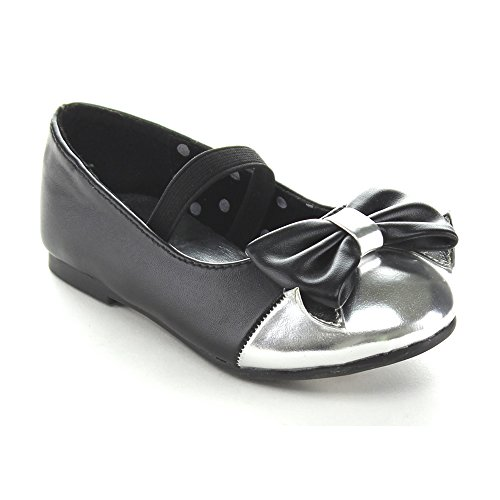 Jelly Beans Chinoya Toddler'S Little Girl Two Tone Bow Ballet Flat Shoes, Color:Black, Size:8