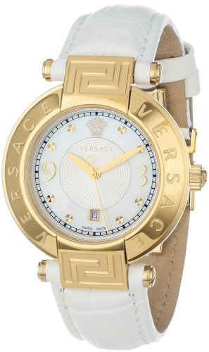 Versace Women's 68Q70D498 S001 REVE Yellow Gold Ion-Plated Stainless Steel Mother-Of-Pearl Dial Date Watch
