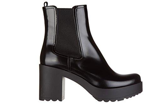 Prada stivaletti stivali donna con tacco in pelle nero EU 37 1T100H_OLE_F0002