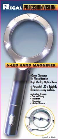 Ultra Bright 6 Led Magnifier (4X Magnification)