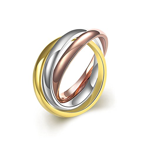 Focus Jewel Eternity Rose Gold/Gold/Silver High Polish Tri-tones Triple Interlocking Multi-Strand Band (Interlocking Rings compare prices)