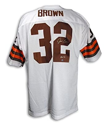 Autographed Jim Brown Cleveland Browns Throwback White Jersey with HOF 71 Inscription