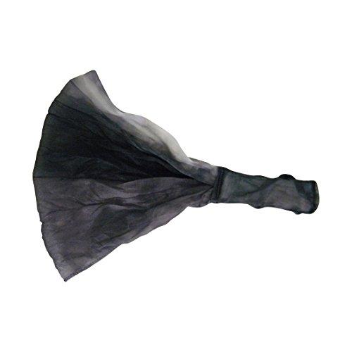 Black Grey Chiffon Tye Dye Extra Wide 9 Inch Chic Boho Hair Wrap with Elastic