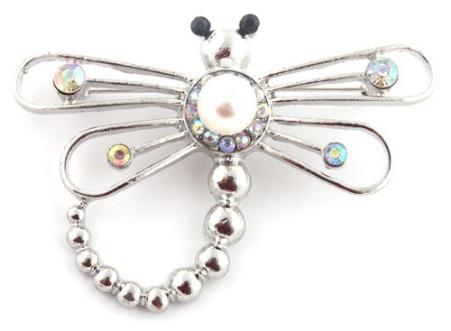 Ladies Silver Dragonfly Style Brooch Pin Pendant with Pearl and Rhinestones
