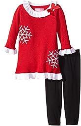 Good Lad Baby Girls\' Snowflake Sweater Dress Legging Set, Red, 18 Months