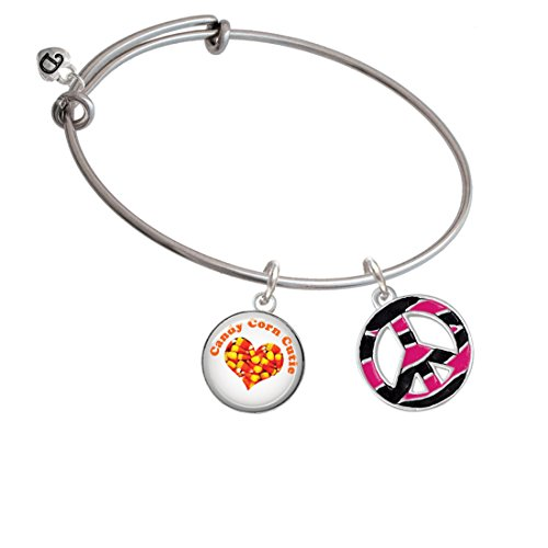 Large Hot Pink Tiger Print Peace Sign - Candy Corn Cutie Expandable Bangle Bracelet (Sweet Corn Tiger compare prices)