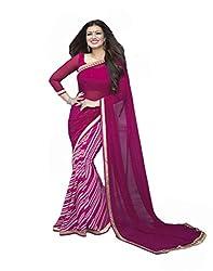 VinayTM Elegant Traditional Designer Georgette Lace Work Printed Pink Saree With Blouse Material