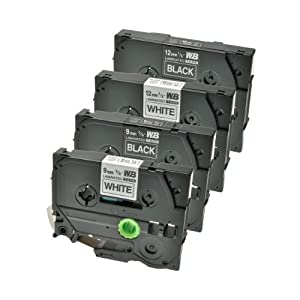 Schriftband für Brother TZ-221 TZ-325 TZ-231 TZ-335 je 1x 9mm TZ-221 TZ-325 je 1x 12mm TZ-231 TZ-335, schwarz auf weiß und weiß auf schwarz, länge 8m, kompatibel zu TZ221 TZ325 TZ231 TZ335