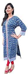 SAIFASHIONS Women's Cotton Kurta (SAI-400,BLUE,XX-Large)