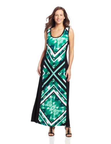 Calvin Klein Women's Blocked Printed Maxi, Emerald/Black, 0X