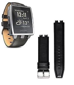 BlueBeach Pebble Steel Smart Watch Leather Strap Bracelet