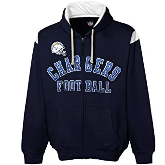 NFL San Diego Chargers TKO Full Zip Hoodie Sweatshirt - Navy Blue by Football Fanatics