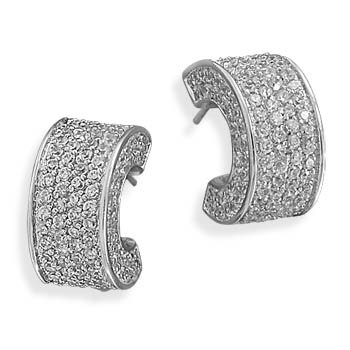 9mm Rhodium Plated Clear Pave CZ 3/4 Hoop Earrings Each Pair Of Earrings 288 Czs