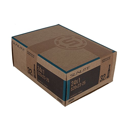"Sunlite Standard Presta Valve Tubes, 24 x 1"" (520 x 23 - 25) / 32mm, Black - 1"