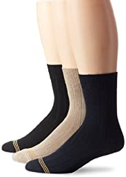 Gold Toe Boy\'s 8-20 Wide Rib Crew Sock (3 Pair), Assorted, Large (3-9)