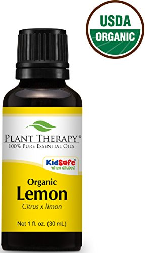 USDA Certified Organic Lemon Essential Oil. 30 ml (1 oz). 100% Pure, Undiluted, Therapeutic Grade.