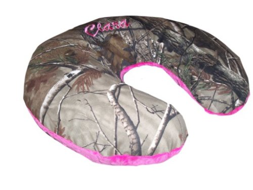 Nursing Pillow Cover, Replacement Cover, Slip Cover- Camo & Fuchsia Minky!