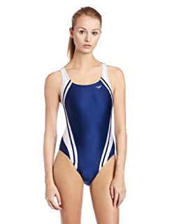 Speedo Women's Race Quantum Splice Superpro Swimsuit, Navy and White, 34