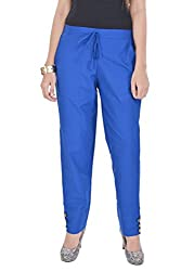 Kalrav Relaxed Straight Fit Cotton Trousers For Women_KFWWCP0001_Blue_42