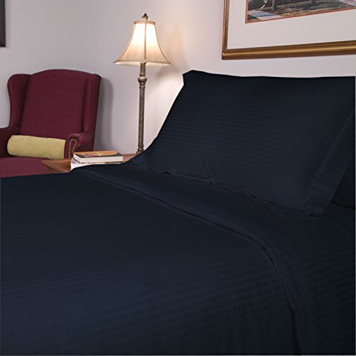 Congo Linen 610 Italian Finish Egyptian Cotton Luxurious Sheet Set 610 Tc Stripe (Short Queen ,Navy Blue)
