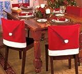 【ノーブランド品】 かわいい サンタさんの 赤い 帽子型 イス 背もたれ カバー 4枚セット クリスマスに