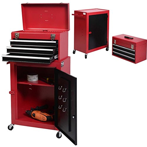Eight24hours 2pc Mini Tool Chest & Cabinet Storage Box Rolling Garage Toolbox Organizer New - A4 (Kennedy Tool Box Key compare prices)