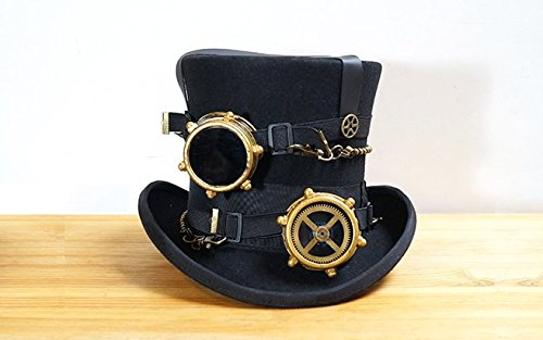 Rock Leather & Vintage Gothic Retro Steampunk Victorian Leather Top Wool Hat Deluxe b2 L