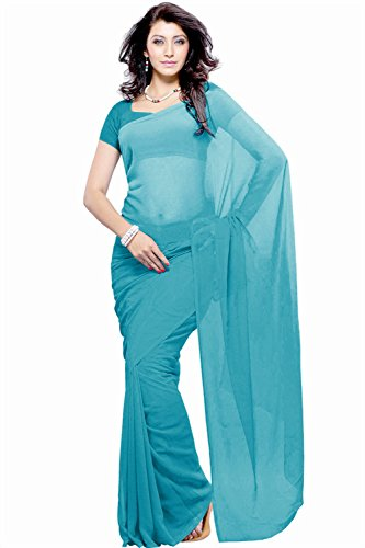 Khoobee Presents Georgette Plain Saree(Light Blue)
