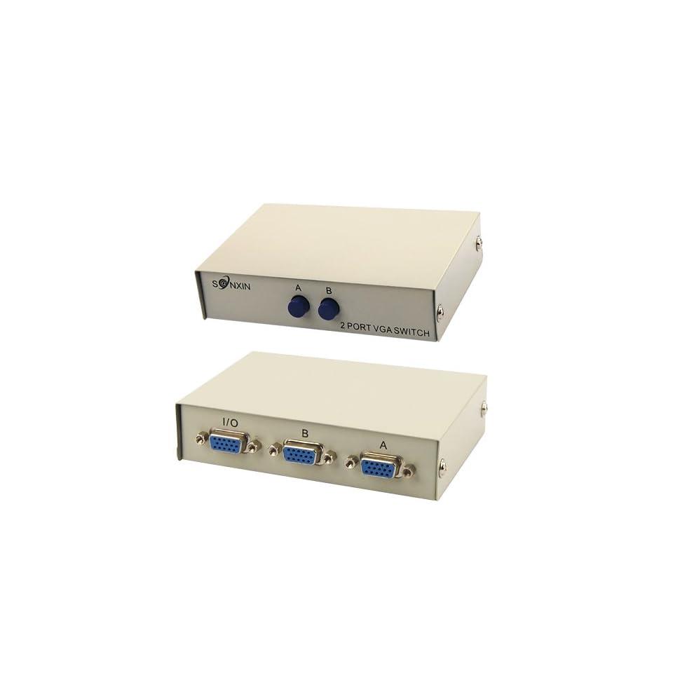 2 Ports VGA SVGA LCD TFT CRT Video Swich Splitter Switcher Box 1 PC 2 Monitors