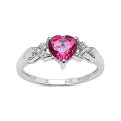 The Pink Topaz Ring Collection: 9ct White Gold 1.00Ct Pink Topaz Heart Engagement Ring with Diamond Shoulders