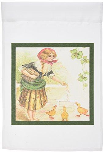 3drose fl_42899_1 Farm girl feeding ducks irlandese vintage giardino Bandiera, 12 da 45,72 cm