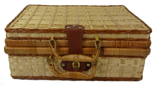 Bamboo Picnic Basket Lined (large)
