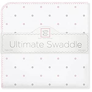 SwaddleDesigns Ultimate Receiving Blanket, Sterling Little Dots, Pastel Pink