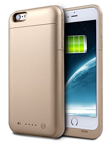 iPhone 6S Plus Battery Case, HianDier 6800mAh Extended Rechargeable Battery Case iPhone 6 Plus / 6S Plus Power Bank Cover Portable Charger Battery Pack for iPhone 6 Plus / 6S Plus 5.5''-Gold (Iphone Charger Custom compare prices)