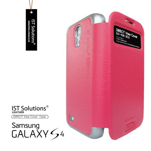 2点セット GALAXY S4 IST DIRECT S VIEW ダイアリー デザイン フリップ カバー ケース カード 収納機能 ( Suica Pasmo Edy ) ワンセグ対応 ワンセグアンテナ対応 ( docomo Galaxy S4 SC-04E / Samsung Galaxy S IV 2013年モデル 対応 ) Standing View Cover for Galaxy S4 i9500 ビュー ケース NTT ドコモ ギャラクシー エスフォー ケース ドコモ カバー 衝撃保護 ジャケット Flip Cover Case + 液晶保護フィルム1枚  Stylish HotPink ( 桃 桃色 ホットピンク ピンク )  1306143