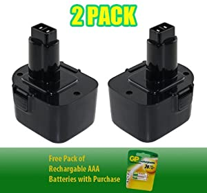 12V, 2000mAh ,NiCad, DeWalt DC528 Battery - Superior Powertool Replacement Battery - 2 Pack