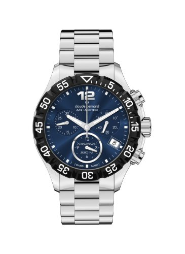 Claude Bernard Women's 10210 3 BUIN Aquarider Blue Chronograph Rotating Bezel Steel Watch